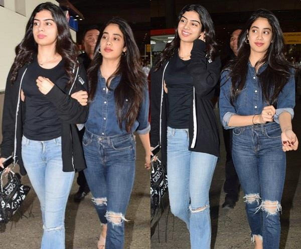 janhvi and khushi spotted at airport