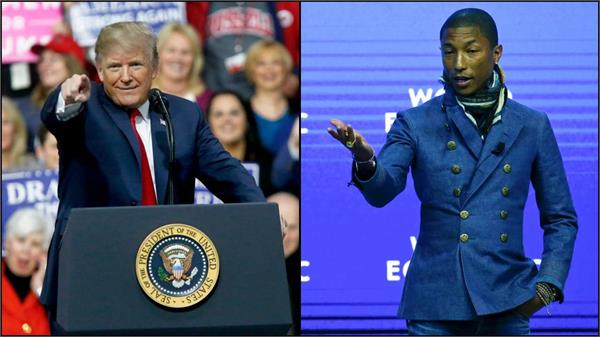 trump plays  happy  at rally pharrell williams sends him notice