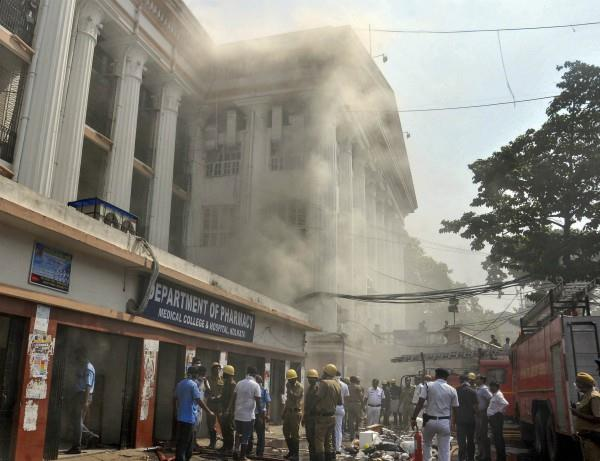 a fire in the pharmacy store of kolkata medical college
