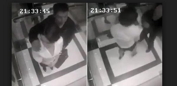 man tried sexually harass women in lift video viral