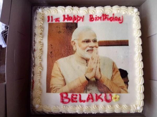 cake of modi photo on birthday
