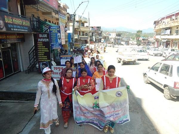 organizing a rally on disaster management in sundernagar