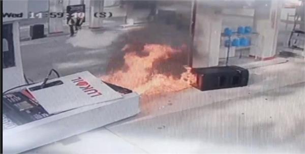 gas pump go up in flames after car pulls away too soon