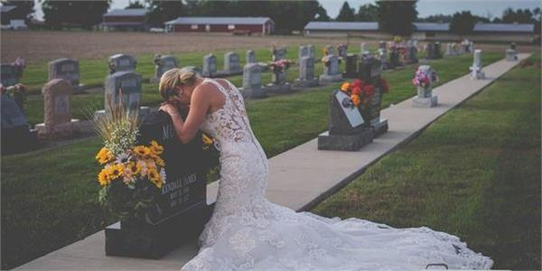 grieving bride takes wedding photos at firefighter husband