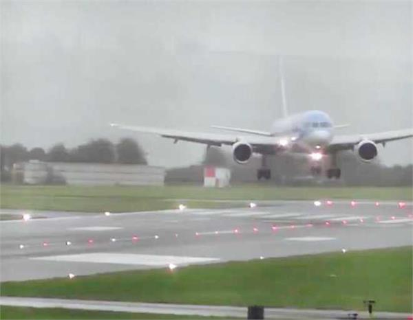 video pilot s daring sideways landing at bristol airport during storm