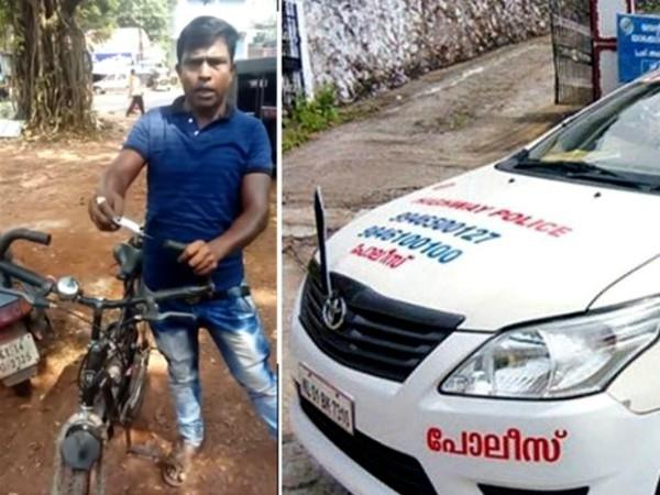 traffic police fine bicycle rider for overspeed