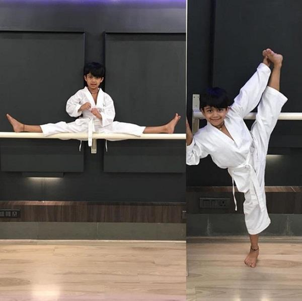 shilpa shetty son viaan doing martial arts
