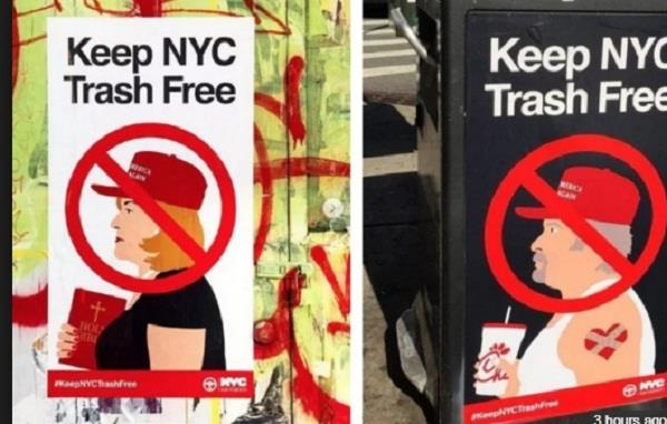 posters calling christian trump supporters trash appear in new york