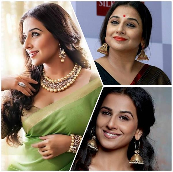 take jewellery earrings inspo from vidya balan