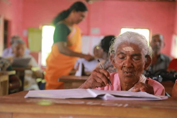 96 year old female topper in kerala s literacy test