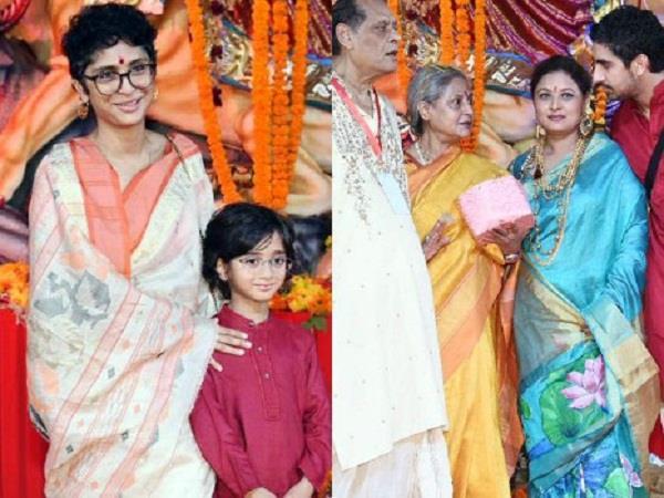 azad khan snapped at durga puja pandal with mom kiran