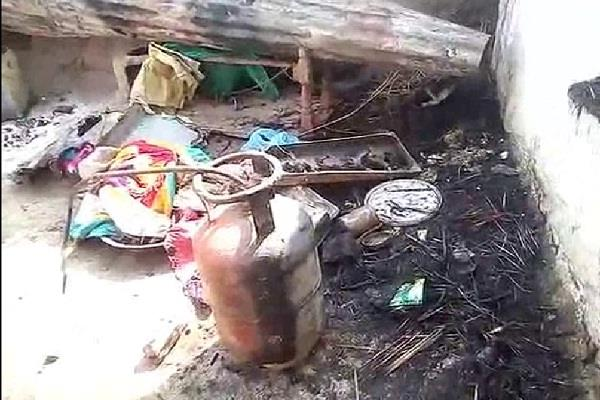 fire in lpg cylinder home burnt