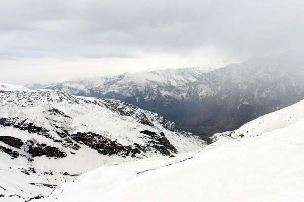 snowfall over high peaks including bhamour rohtang