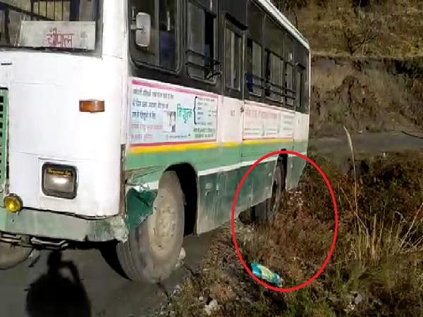 hrtc bus left after falling deep in the ditch