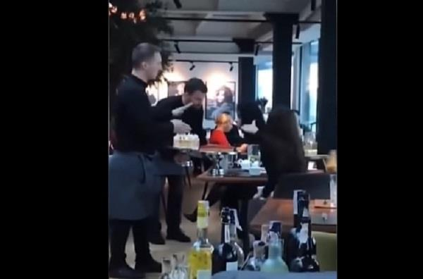 fed up waiters slam cake into rude diners faces