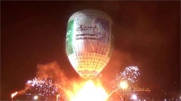 exploding hot air balloon injures revellers at festival in myanmar