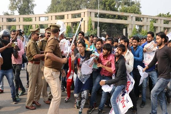 yogi government busted with police action on btc trainees congress