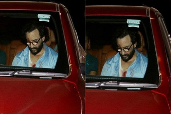 saif ali khan spotted in his car