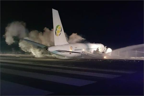 boeing jet crash lands at guyana airport six injured minister