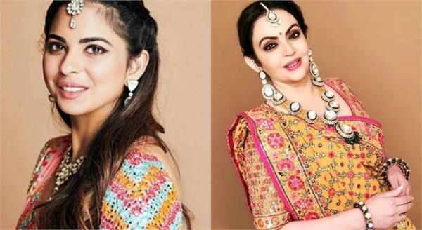 isha ambani and nita dressed up for dandiya wedding celebrations