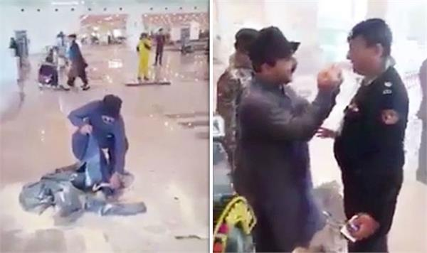 pakistan islamabad airport man sets luggage on fire