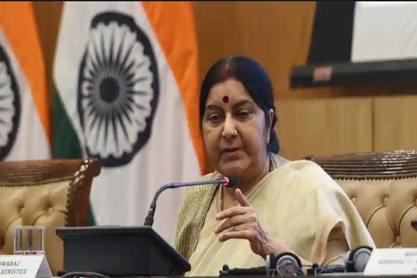 terror talks can t go together eam sushma swaraj