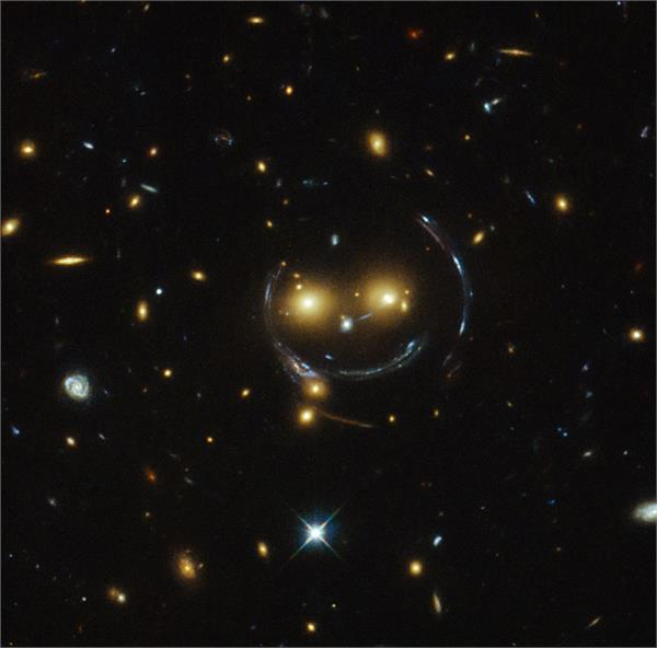 hubble telescope captured smiling face in universe