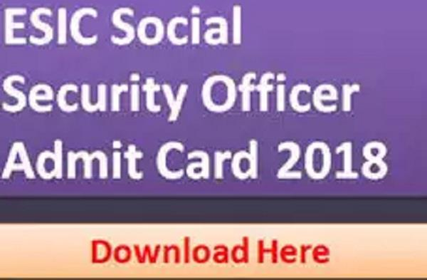 admission card for esic sso main examination