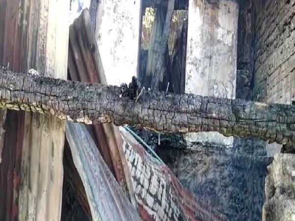 fierce fire in water burned house