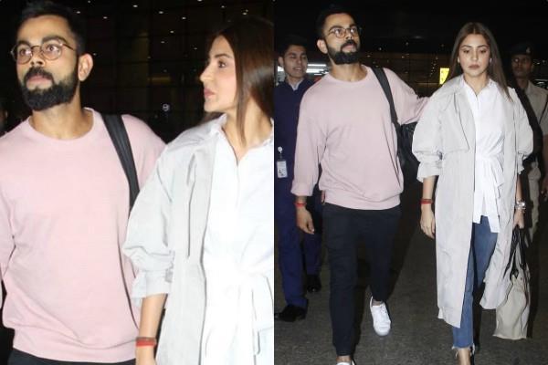 anushka sharma and virat kohli spotted at the airport