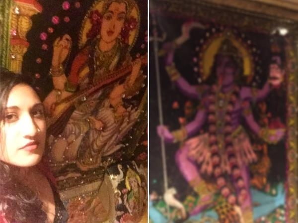 photos of hindu goddesses set in pub s toilets