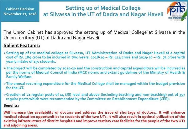 approval of establishment of medical college in silvassa of dadar