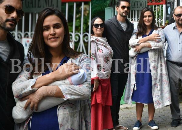 neha and angad pose with daughter mehr dhupia bedi