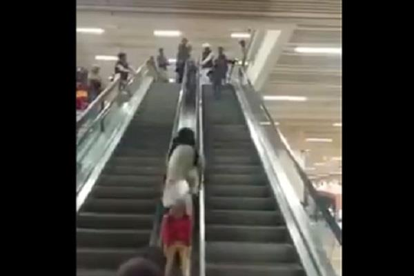 kids will do the dangerous stunts on the escalator