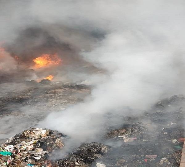 fire at junk warehouse