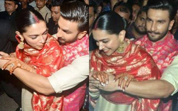 ranveer singh protect deepika padukone from fans crowd