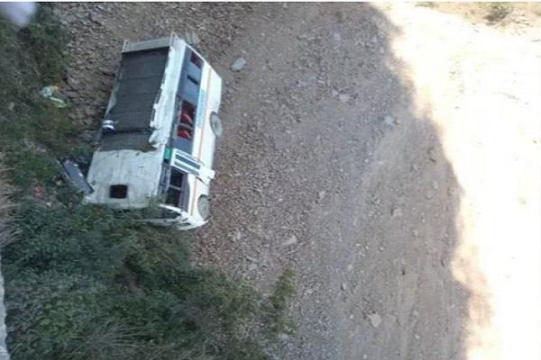 a bus falling into ditch