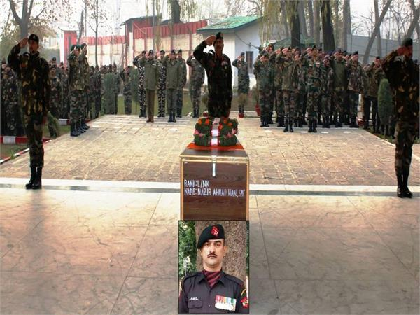 army pay tribute to martyr in shopian encounter