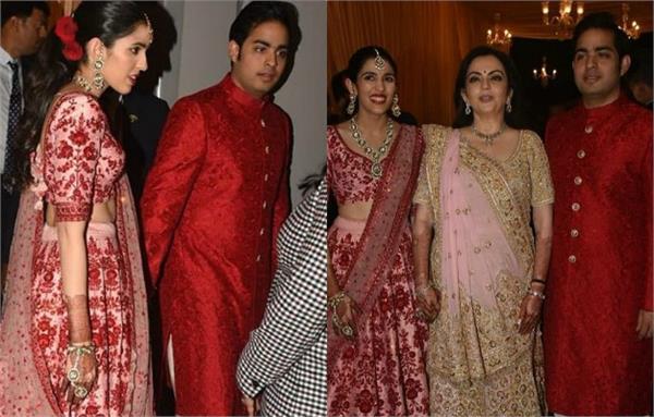 aakash ambani with fiancee shloka mehta at isha ambani anand wedding reception