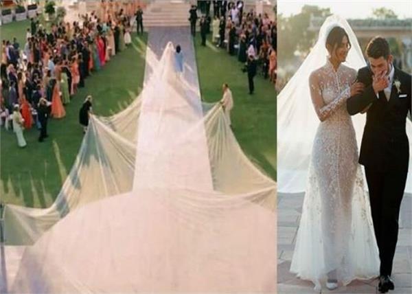 प्रियंका ने पहना 75 फीट लंबा वेल, सोशल मीडिया पर जमकर उड़ रहा हैं मजाक
