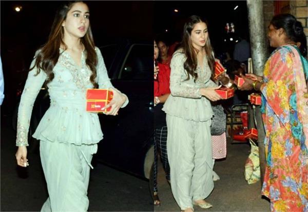 sara ali khan spotted at mandir