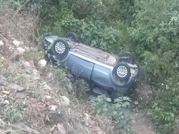 50 meter deep rolled car in the trench