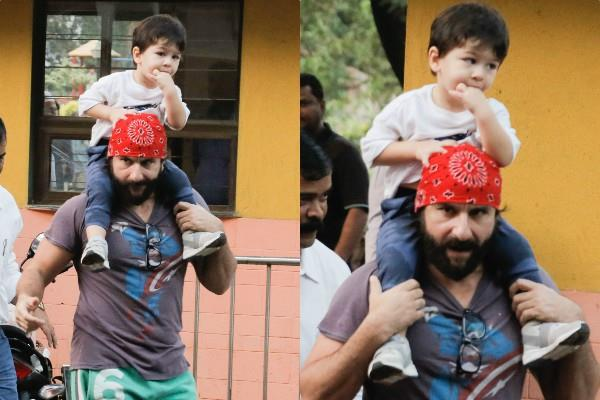 taimur ali khan spotted with daddy saif ali khan
