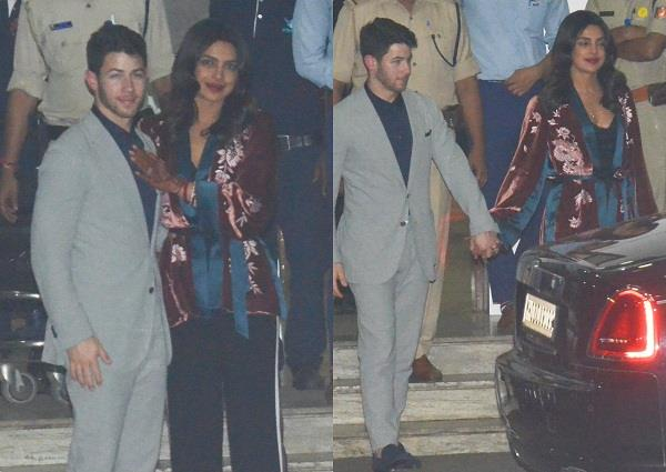 priyanka chopra with nick jonas at mumbai airport