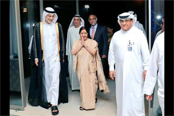 sushma swaraj arrives in abu dhabi on 2 day visit