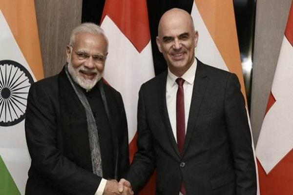 wef summit pm narendra modi meets swiss president by reaching davos