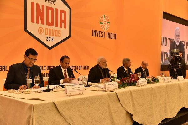 wef 2018 pm modi round table meeting with global ceo in davos