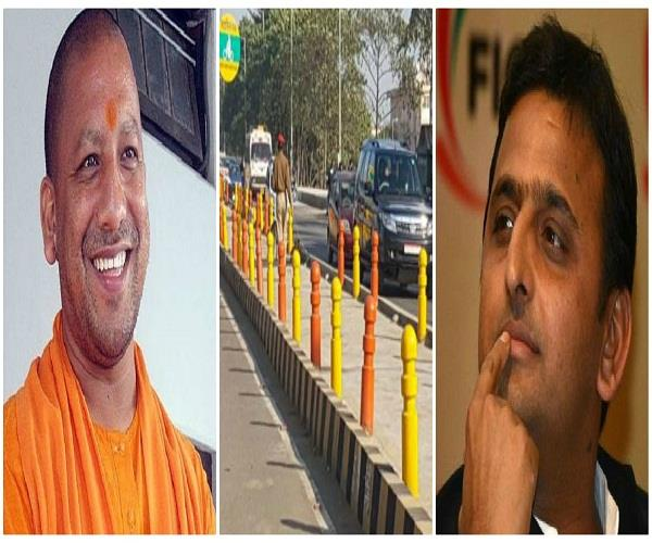 akhilesh yadav cycle track is painted in saffron colour