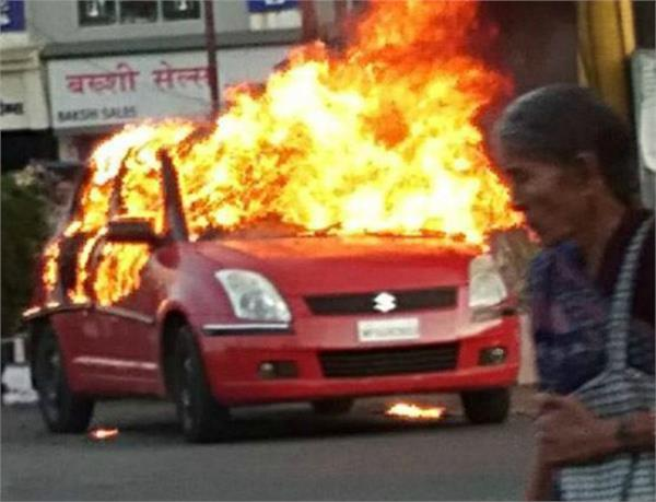 karni sena activists burn their own car protest against padmavat