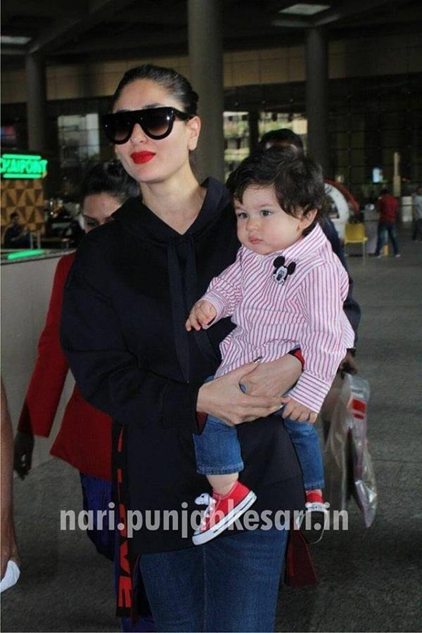 एयरपोर्ट पर फैशनेबल अंदाज में दिखें तैमूर और मॉम करीना